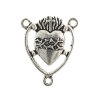 Connector- Religious Sacred Heart with thorns 17.5x15mm Antique Silver 10pcs